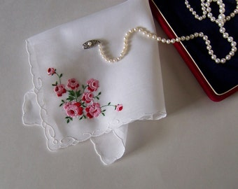 Mother of the Bride or Groom Happy Tears Vintage Handkerchief, Wedding Memento, Rose Bouquet Pink Embroidered Hanky on White, Keepsake
