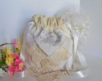 Wedding Money Bag, Dollar Dance Bag, Reception Tradition Wedding Card Bridal Accessory Vintage Handkerchiefs Drawstring Pouch in Cream