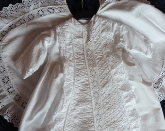 Antique French white handmade christening or first communion gown dress w cope cape w broderie Anglaise lace baptism dress 1900s clothing