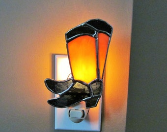 Western Boots Night Light - Mixed Ambers & Blue Opal Glass - Cowgirl Colors -  Great Gift Idea - Original Unique Design
