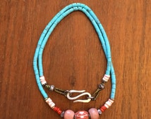 JN15-030 Heishi Turquoise Necklace with Foscilized Walrus Tooth Beads