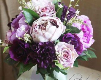 Cottage garden wedding bouquet for Bride or Bridesmaid.  Purple and lilac bouquet of peonies, dahlias, roses and wildflowers.