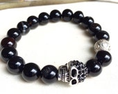Handmade Black Agate Bracelet with Sterling Silver Skull and Detailed Bead.