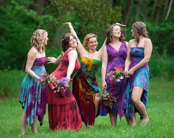 CUSTOM Organic Bridesmaid dress cotton jersey pixie dress / fairy skirt asymmetrical tie dye or maternity S, M, L
