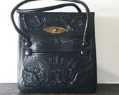 RESERVED SALE Vintage Black Hand Tooled Leather Purse Handbag with Zipper Pockets