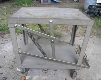 vintage 1950s or so mid century adjustable STEEL and metal INDUSTRIAL age STAND or table base