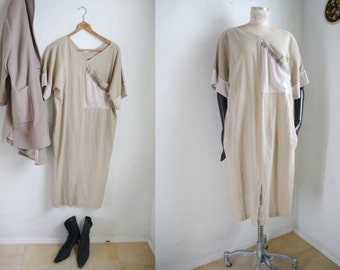 Vintage 80s dress Dress Betty Barclay Natural beige colors relaxed baggy boxy dress/ M/