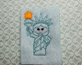 Lady Liberty feltie, Standing full body Lady Liberty felt stitchies, Fourth of July, embellishment for scrapbooking, bows,