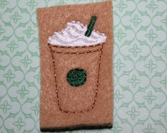 Frozen coffee drink, set of 4 pieces, embroidered on felt, coffee drink on camel tan felt, for hair accessories, scrap booking or crafts