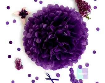 Paper pom pom in Purple  wedding decorations / party decor/ nursery decor/ bridal baby shower/ tissue paper pompoms / party poms