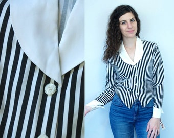1990s Vintage Black & White Striped Long Sleeve Cropped Blouse Shirt / White Chelsea Collar and French Cuffs / NOS NWT Deadstock / Small S 4
