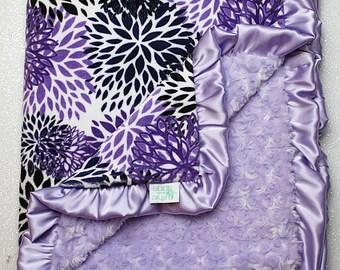 Minky Blanket, baby girl blankets, baby girl gift, lavender rose minky, soft blanket, Lattice Print, bloom, floral, lavender and grey minky