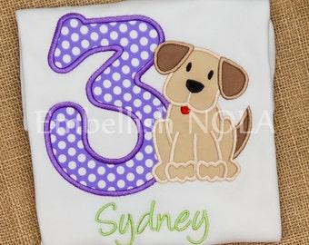 Puppy Dog Appliqued Birthday Shirt