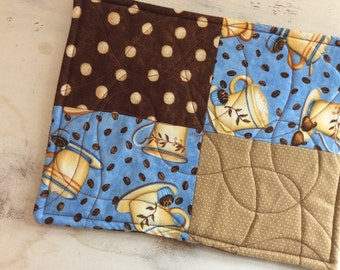 Trivet Quilted Rectangle  Reversible Coffee Cup & Beans Motif Blue Brown Tan Brown Polkadot  Teacher Gift House Warming Gift Coffee Lover