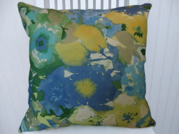 Blue Yellow Decorative Throw Pillow Cover Floral Throw Pillow