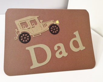 """Father's Day Card, Handmade, Brown, Tan, Green, 4 x 5 1/2"""", Dad, Old Jalopy"""