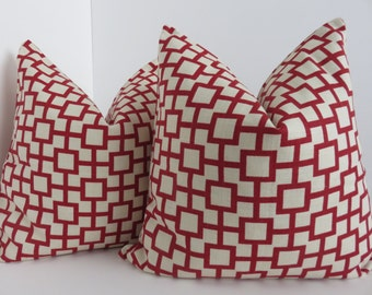 16x16, Decorative Pillow Cover, Cream Pillow, Red Pillow & Geometric Pillow Covers, Robert Allen