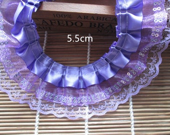 2 1/4 inch wide  Purple Double Layer Ruffled lace Trim price for 1 yard