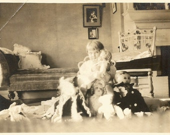 Little Rich Girl - Antique Photo - Child and Her Dolls - Victorian Era - Fainting Couch -  Ghostly Light - Found Vintage Photo