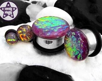 "Ocean of Blackberry Pie Faux Dichroic Plug / Gauge Purple Rainbow Faux Dichro Iridescent 4g, 2g, 0g, 00g, 7/16"" / 5mm, 6mm, 8mm, 10mm, 11mm"