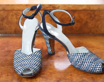 1930s High Heels // Checkerboard Woven Ribbon Blue and White Sandals with Ankle Strap Shoes