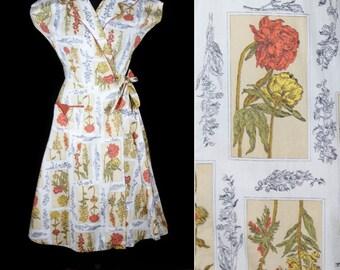 1950s Dress // Floral Botanical Cotton Wrap Dress