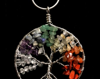 Tree of Life Chakra Crystals Necklace with Silver Chain