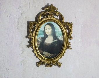 Gold Framed Mona Lisa //  Hanging Decor in Gold Gilt Frame