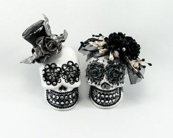 Skull white weddings cake topper handmade bride and groom