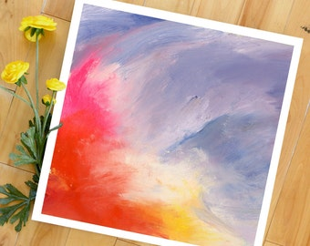 Abstract Art Print, Sunburst, Landscape Painting, Modern Art, Expressionist, Floral