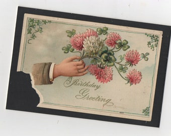 4 x 6  Edwardian Era  Birthday Card Flower Bouquet Flat Notecard Small Art Postcard Greeting . 1909 Postage INCLUDED !
