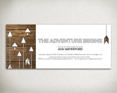 BABY SHOWER Printable Arrow Invitation - The Adventure Begins - Tribal Rustic Arrows Woodgrain - white brown black - gender neutral - DIY