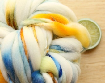 Cruise - Handspun Wool Yarn Blue Yellow Orange Thick and Thin