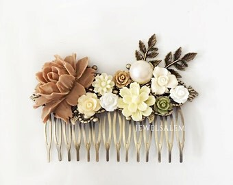 Ivory Wedding Hair Accessories Bridal Hair Comb Brown Caramel Camel Ecru Cream Flower Leaves Floral Headpiece Bridesmaid Woodland Rustic WR