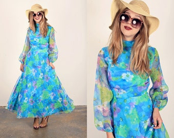 70s Blue Watercolor Dress Vintage Floral Blue Maxi Dress