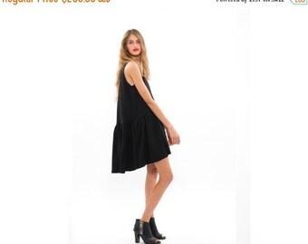 SALE 50% OFF 50 Percent OFF, Little Black Dress, Loose Fitting Summer Dress, Sleeveless Crew Neck Dress with Pockets, Urban Fashion