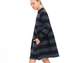 An amazing dress, Modern and Classic Oversized Fashion Dress for Winter, Long Sleeve Loose and  Relxed Fit Boho Dress