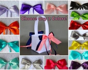 Custom lace wedding flower basket, YOU CHOOSE any 2 ribbon colors!