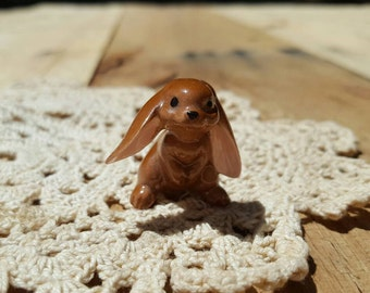 Little brown bunny rabbit porcelain figurine collectable
