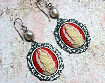 Our Lady of Guadalupe Earrings, Cameo Earrings, Religious Earrings, Pink Earrings, Virgin Of Guadalupe, Guadalupe Jewelry, Religious Jewelry