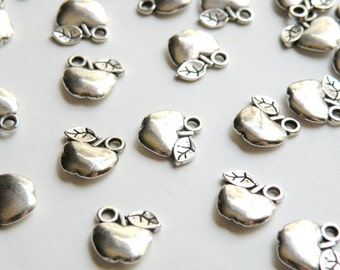 10 Apple charms antique silver 11x11mm DB08706