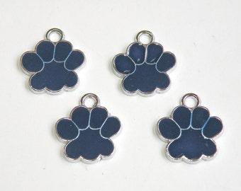10 Paw enamel charms navy blue & silver finish dog paw cat paw 18x16mm DB16060