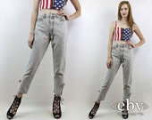 Ankle Zipper Jeans Grey Jeans Mom Jeans Bonjour Jeans Skinny Jeans Hipster Jeans  Vintage 80s High Waisted Acid Wash Jeans S 26