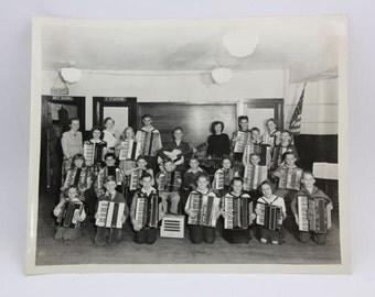 Vintage Photo Accordian Band Concertina Polka, School Band Photography, Paper Ephemera, Snapshot, Old Photo, Collectibles #549