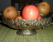 Vintage Ornate Oval Brass Fruit/Flower Basket Made in India