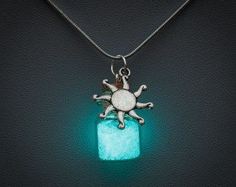 Glowing Necklace - glow in the dark bottle pendant with sun charm, blue glow