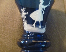 Vintage Mary Gregory Cobalt Art Deco Blue Toothpick Holder Hand Painted Beautiful