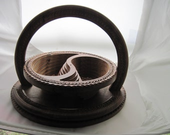 Pakistani-Wood-Carved-Pop-Up-Collapsible-Fruit-Candy-Bowl-Basket Divided Dish Two Sided