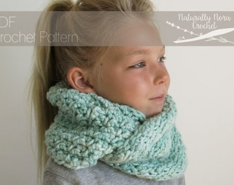 Crochet Pattern: The Muna Cowl-Toddler, Child, & Adult Sizes- chunky reversible textured circle scarf turquoise