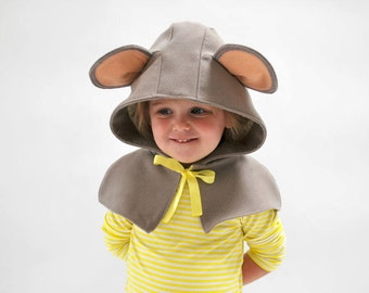 Childs mouse cape little grey mouse hooded capelet animal hood fancy dress mouse rat outfit photo prop dress up play clothes fun cute baby
